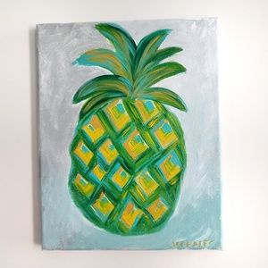 Other - Wall Art Handpainted Canvas Pineapple 8x10